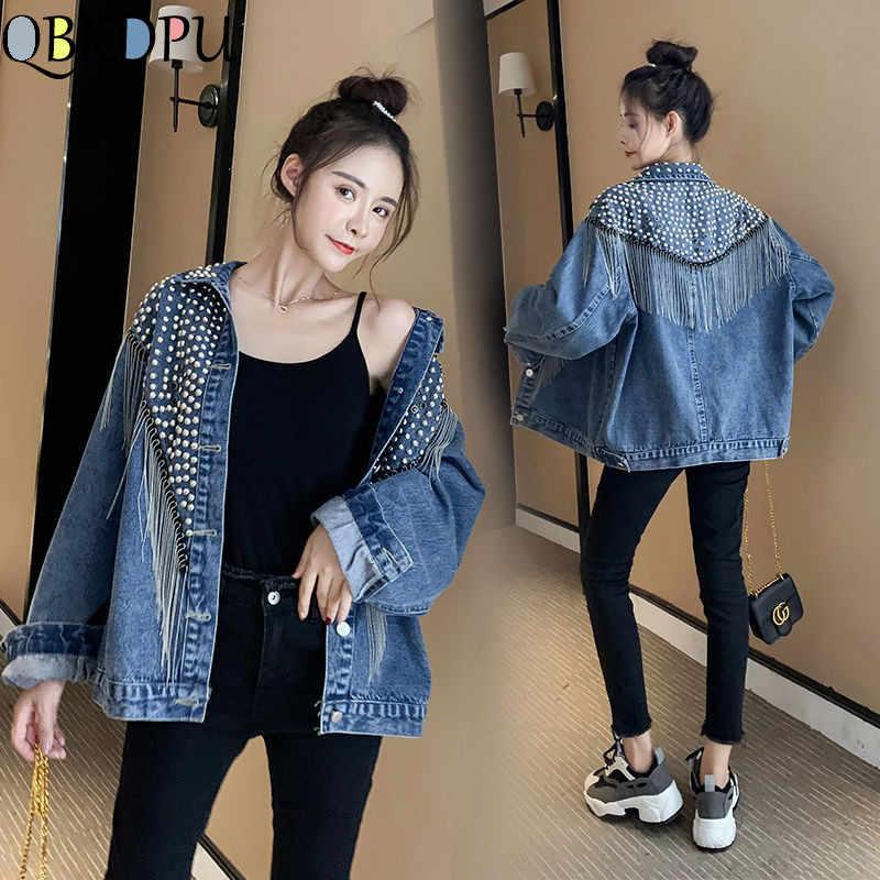Frühling Neue Schwarz Blau Denim Jacke Frauen Lose Fransen Niet Diamant Verzierte Jacke Weiblichen Quaste Koreanische Beiläufige Freund Mantel