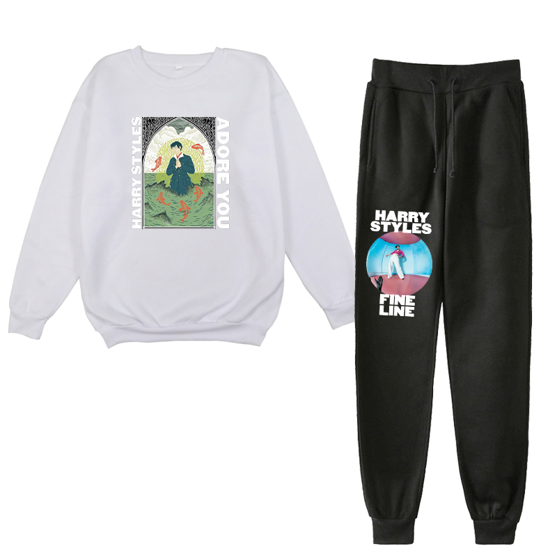 Harry Styles O-neck Pullover And Trouser Suit Autumn Harajuku Black Plant And Colored O Neck Hoodies Women Funny Two Piece Sets