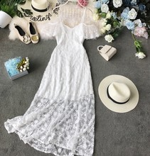 Sexy Hollow Lace Dress Women Slim V-neck Bodycon White Party Dress Summer Elegant Ladies Flora Wrap Dresses Vertidos Mujer(China)