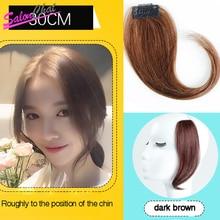 Salonchat, длинные волосы на заколках спереди, боковая бахрома, накладные волосы, натуральные человеческие волосы, челка, волосы на заколках, челка, 35 см