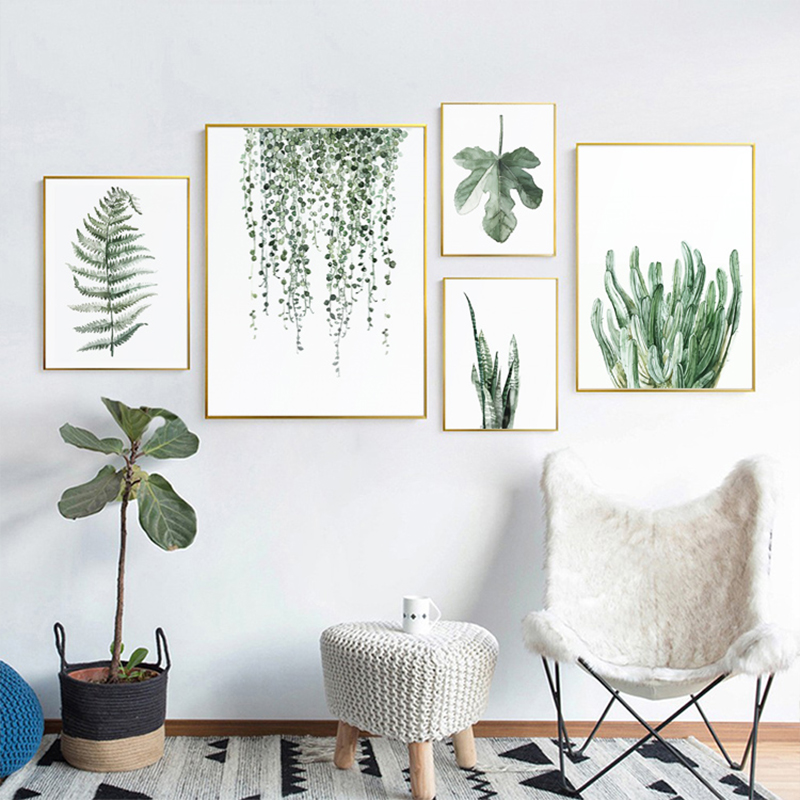H275530f6daed4559956e9c86963eafe9T ART ZONE Tropical Plant Leaves Canvas Art Print Poster Nordic Green Plant Wall Pictures Kids Room Large Painting No Frame