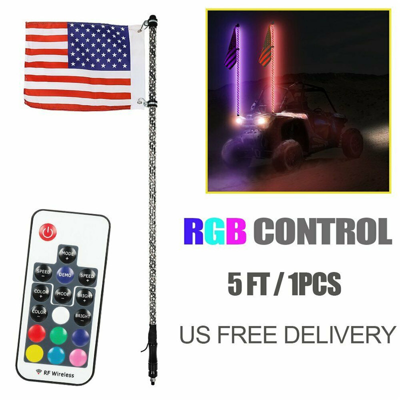 5ft Light Antenna LED Flag Whip Lighted Flagpole Remote For Off-road Vehicles UTV RZR ATV For Jeep Sand Rails Colorful Car Decor