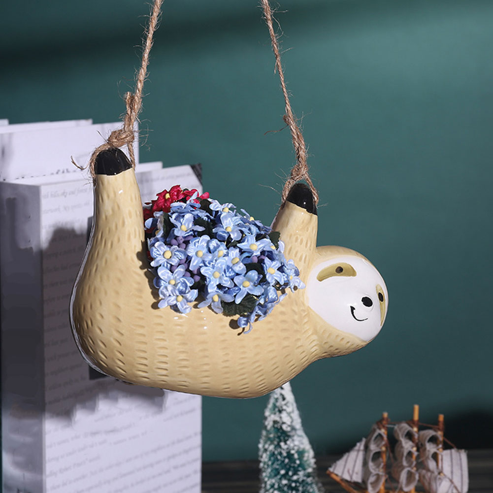 Ленивцы цветочные горшки кашпо желтый стена подвесной керамический ваза для сада украшения украшения уезд сад цветок горшок