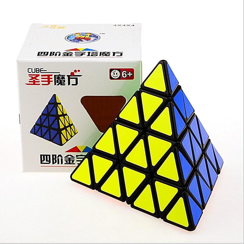 Shengshou 4x4x4 Pyramid Speed Cube SHENGSHOU Pyramid 4x4 Puzzle Magic Cubo 4x4 Puzzle Pyramid Cube Children Education Toys