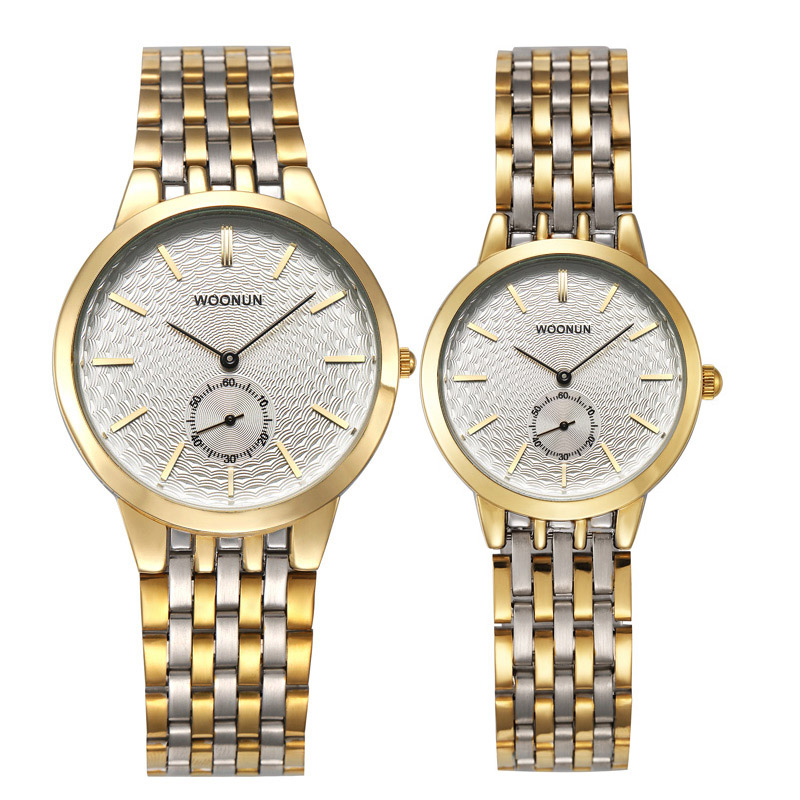 Top Branded Couple Watches WOONUN Men And Women Luxury Watches Stainless Steel Quartz Ultra Thin Watches Set Best Gift Stocks
