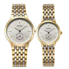 Топ брендовые пара часы WOONUN мужские и женские роскошные часы нержавеющая сталь кварц ультра тонкие часы набор лучший подарок акции