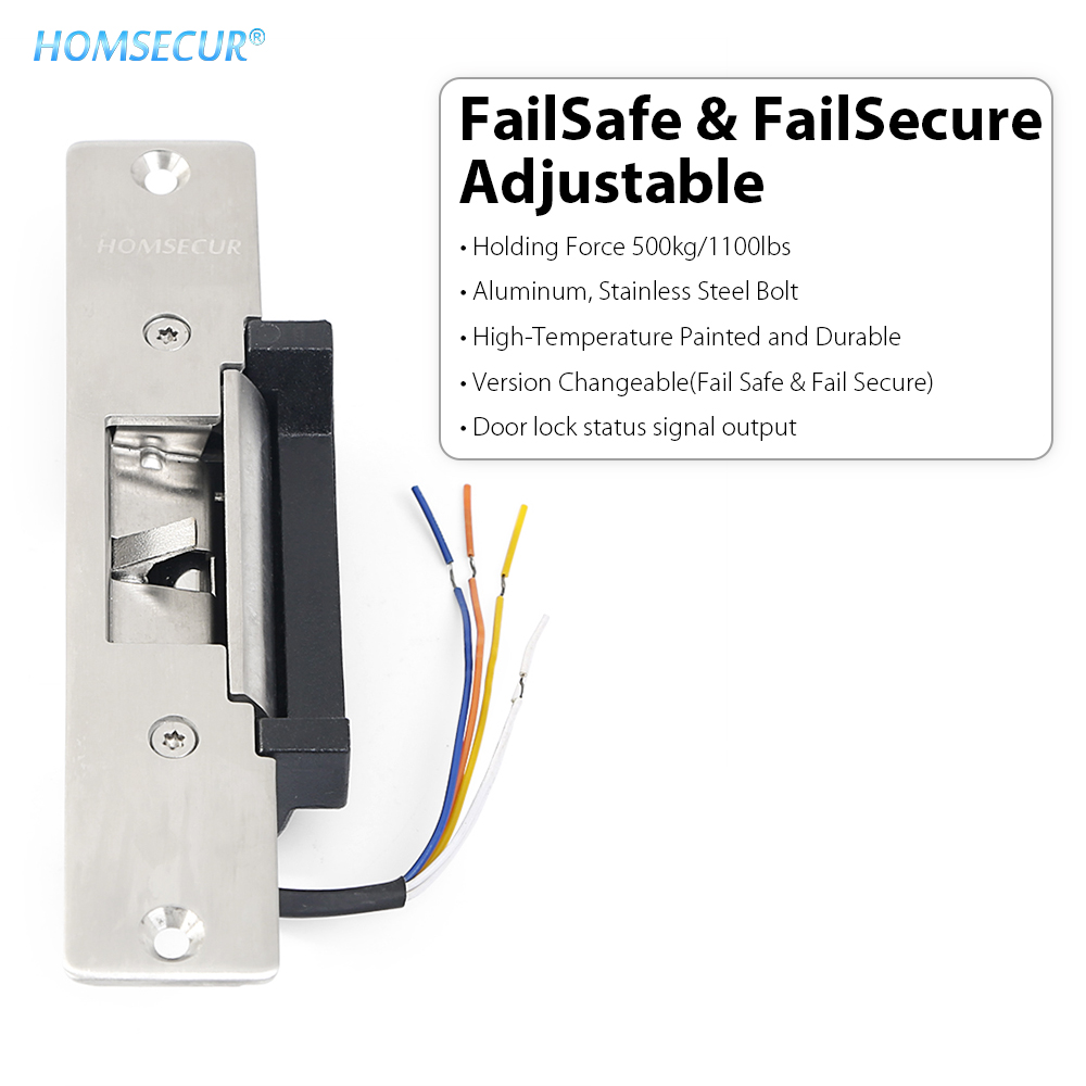 HOMSECUR 500KG/1100lbs Holding Force Electric Strike Lock NO NC Mode For Wood Metal Door