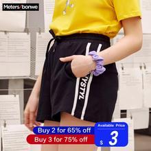 Metersbonwe, женские спортивные шорты для девочек, ins, для студентов, Корейская версия, стиль, Хит, Ретро стиль, повседневные шорты, лето 749582