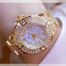 نساء ساعات الماس الذهب ساعة السيدات ساعات المعصم العلامة التجارية الفاخرة حجر الراين المرأة ساعات يد الإناث Relogio Feminino
