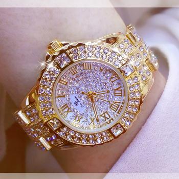 Zegarki damskie diamentowe złote zegarki damskie zegarki luksusowe marki Rhinestone damskie bransoletki z zegarkiem damskie Relogio Feminino tanie i dobre opinie BS bee sister QUARTZ Hook buckle Stop 3Bar Luxury ru 14mm Okrągły 10mm Odporny na wstrząsy Odporne na wodę Hardlex Fashion Women Watch With Diamond FA 08040