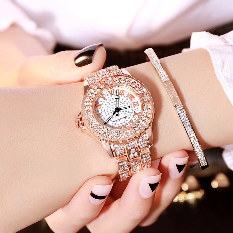 2019 New Women's Watches Brand Fashion Watch Women Luxury Rhinestone Rose Gold Bracelet Woman Watches Ladies Dress Clock