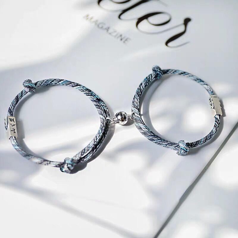 2 шт пара браслет для женщин любовь дружба Веревка Плетеный расстояние магнитные браслеты парные ювелирные изделия любовник мужской брасле...