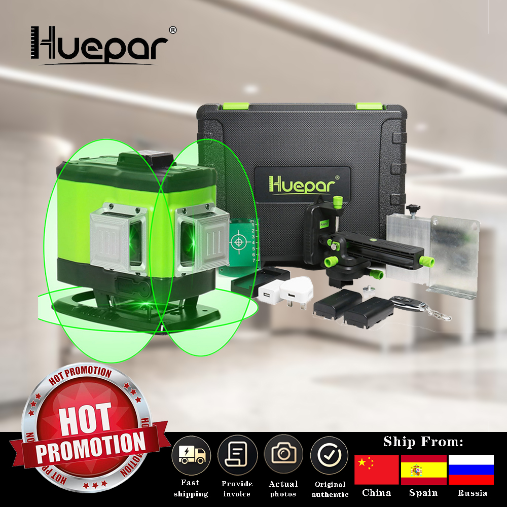 Huepar 3D Self-leveling Laser Level Green Beam Cross Line Alignment and Tiling Floor  with Remote Control  amp  Hard Carry Case