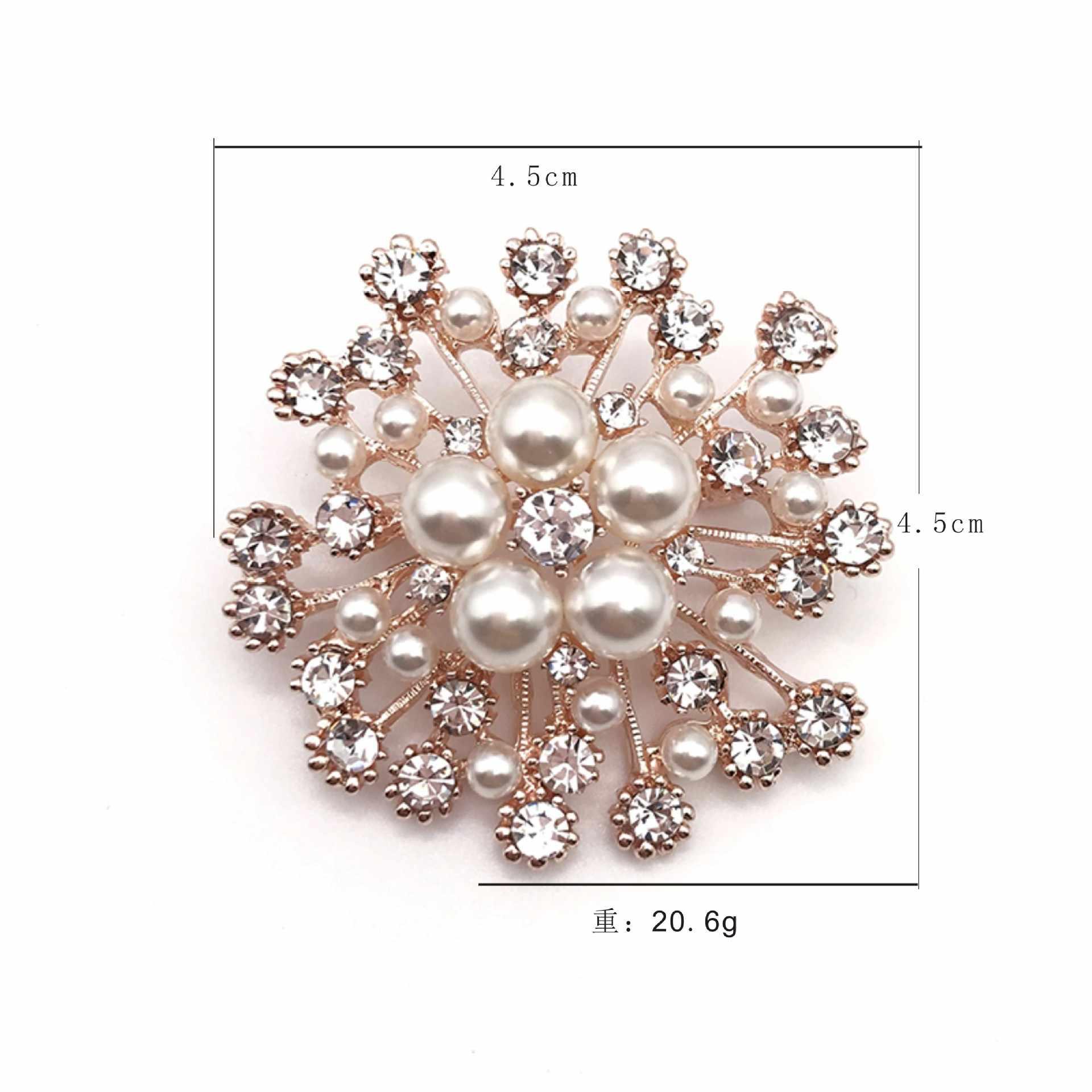 2021 nova moda imitação de pérola strass cristal flor broches para o casamento feminino festa de noiva redondo buquê broche pino