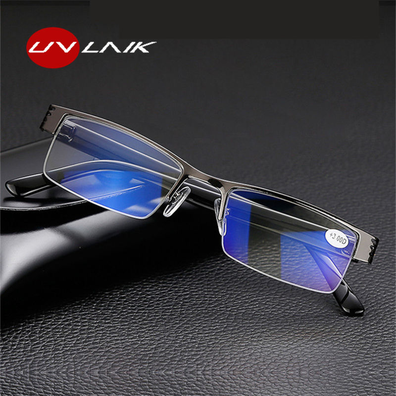UVLAIK Half-rimmed Nearsighted Glasses Men Metal Frame Women Short-sighted Eyewears Spectacles For Myopia With Case