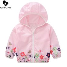 New 2020 Children's Hooded Sun Protection Clothes Summer Baby Boys Girls Thin Coat Flower Print Kids Beach Sun Jacket Outwear baby jacket spring summer girls sun protective clothing children outwear cardigan girl leisure thin clothes floral sweatshirt