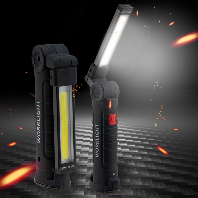 Zk20 USB Rechargeable LED Flashlight Collapsible COB Portable Work Light Magnetic Base Hook Repairing Camping Lamp Dropshipping