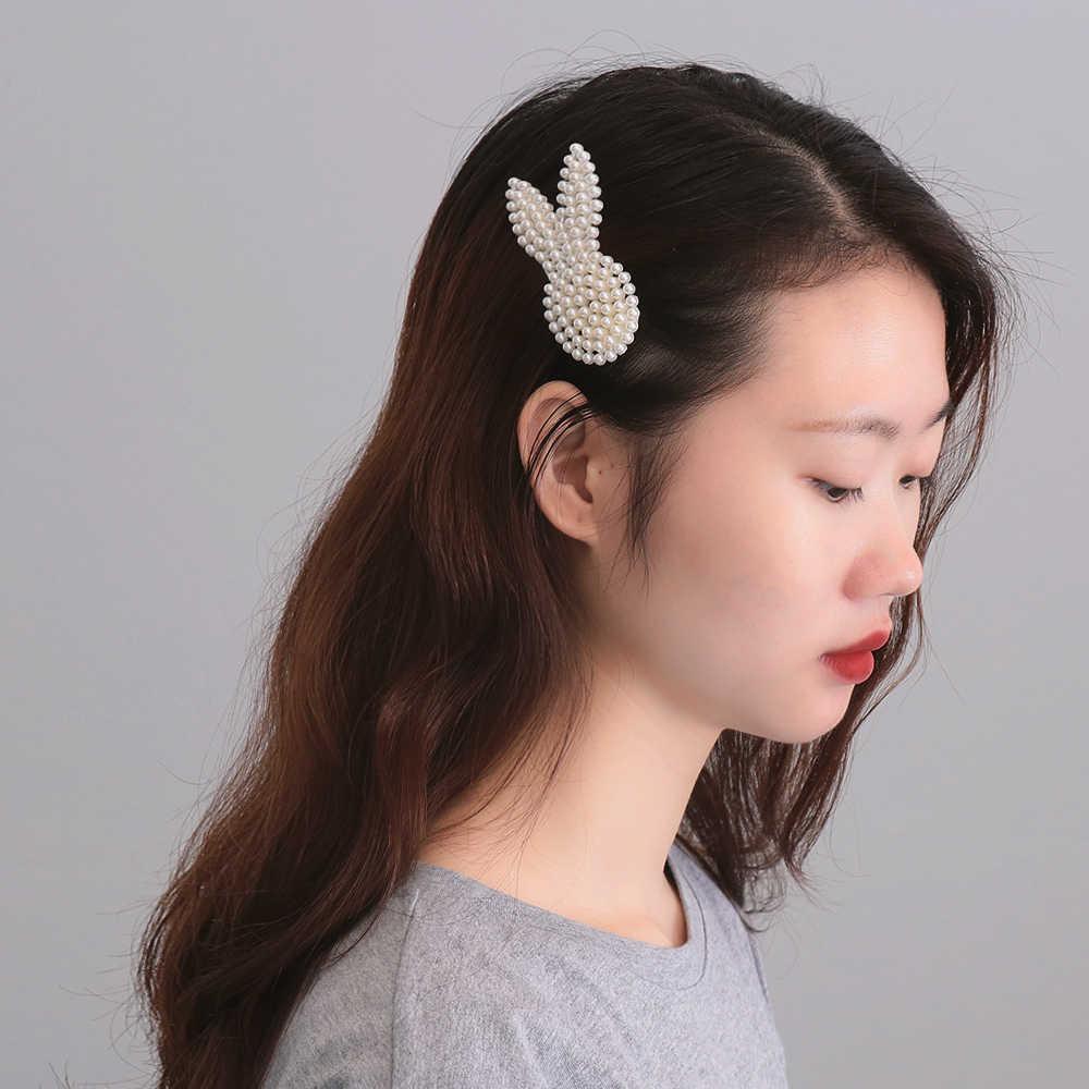 Imitacja Peruka perłowa klip nakrycia głowy biżuteria dla kobiet dziewczyn elegancki koreański Design Snap Barrette naklejki spinka do włosów do stylizacji włosów