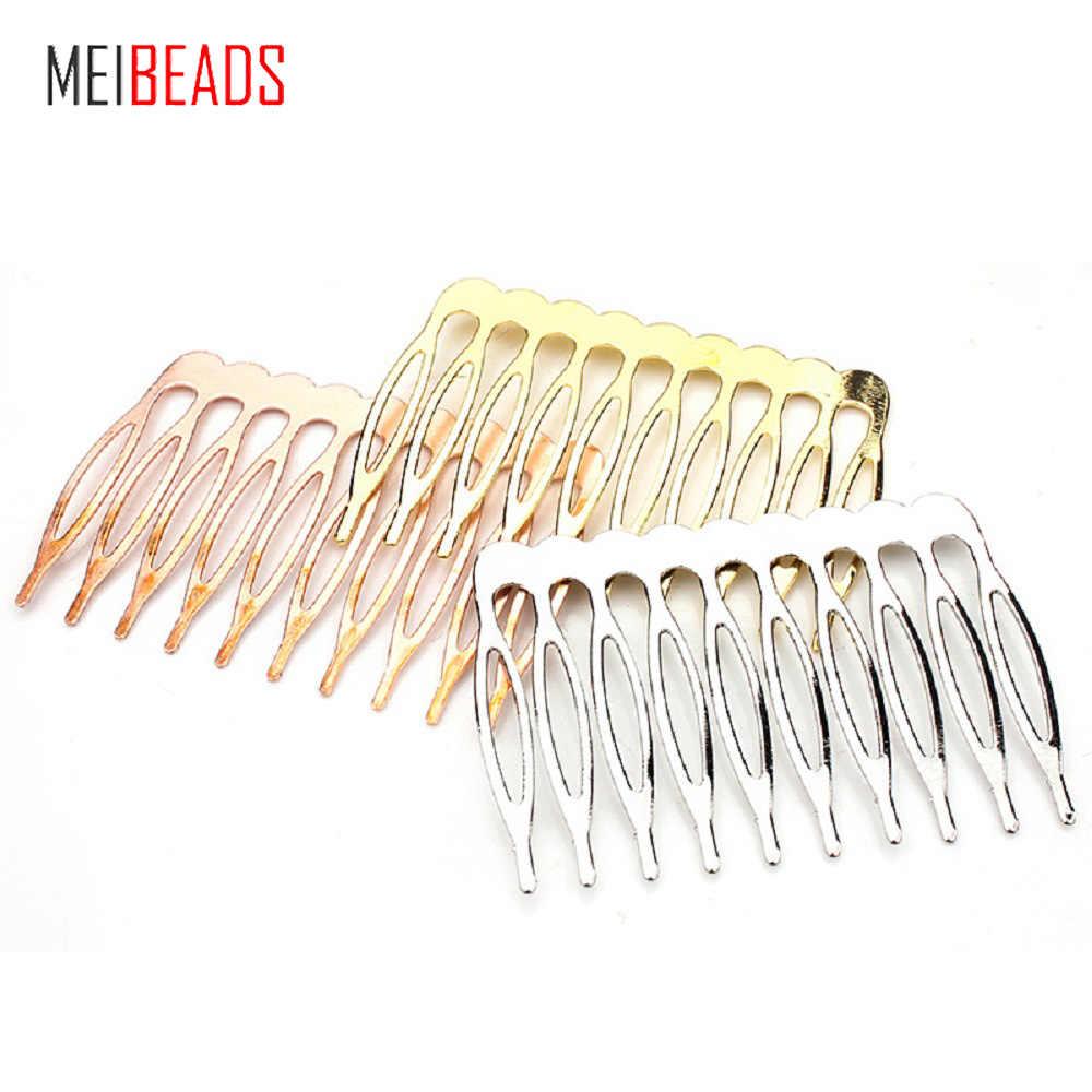 10 stücke/lot 5/10 Haar Ornamente Zahn Metall Kamm Rhodium Gold Farbe Basis Material DIY Handgemachten Schmuck Haar Zubehör UF7494