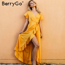BerryGo Sexy v neck ruffled boho dress women Cotton short sleeve holiday beach maxi dress Casual solid yellow summer wrap dress