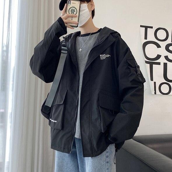 Spring Hooded Jacket Men's Fashion Solid Color Casual Multi-pocket Tooling Jacket Streetwear Loose Hip Hop Bomber Jacket Men