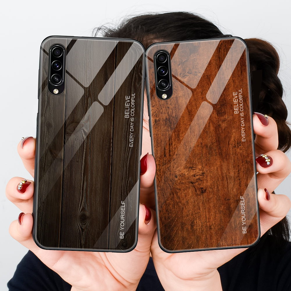 Wooden Tempered Glass Phone <font><b>Case</b></font> For <font><b>Samsung</b></font> <font><b>Galaxy</b></font> A50S A50 S A 50S A30S A30 A20 A10 <font><b>A40</b></font> <font><b>Case</b></font> Coque Protective Shell Fundas image