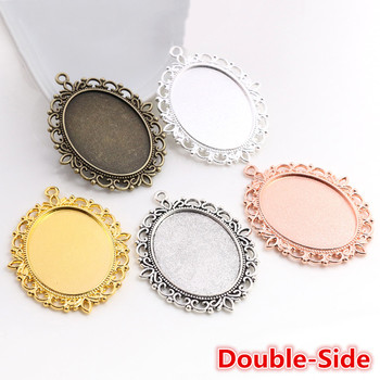New Fashion 5pcs 30x40mm Inner Size Antique Bronze Silver Color Gold Double Side Cabochon Base Setting Charms Pendant