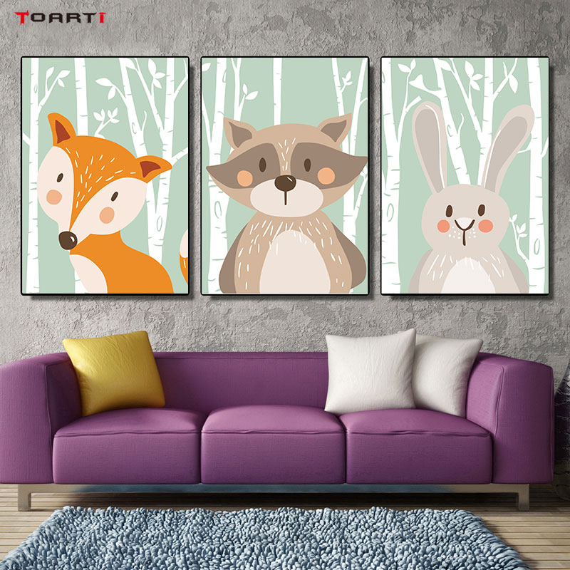 Cartoon Forest Animals Poster Prints Rabbit Fox Bear Canvas Painting On The Wall For Kids Bedroom Nursery Art Picture Home Decor (2)