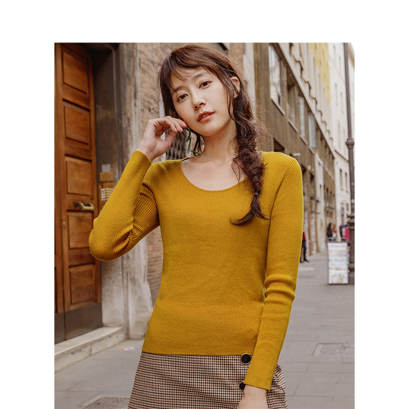 INMAN  Round Collar Causal Fitness Long Sleeve Knit Sweater
