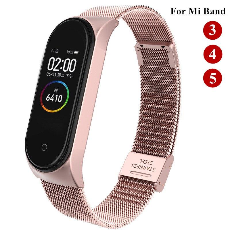 Металлический браслет для Xiaomi Mi Band 3 4 5, Безвинтовой ремешок из нержавеющей стали для Mi Band 4 3 5