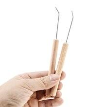 2 Pcs/Set 15cm Length Solid Wood Bending Needle Wooden Knitting Loom Hook DIY Tools Sewing Crochet Fittings