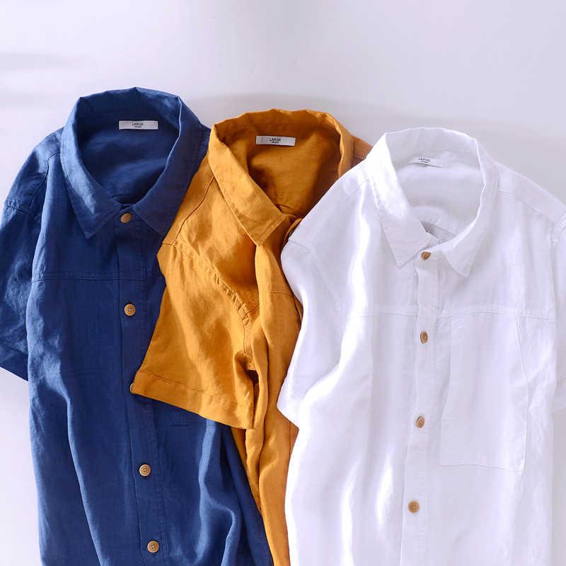 100% lin nouveau design été chemise hommes marque casual jaune chemise hommes solide respirant chemises mâle mode chemise camisa