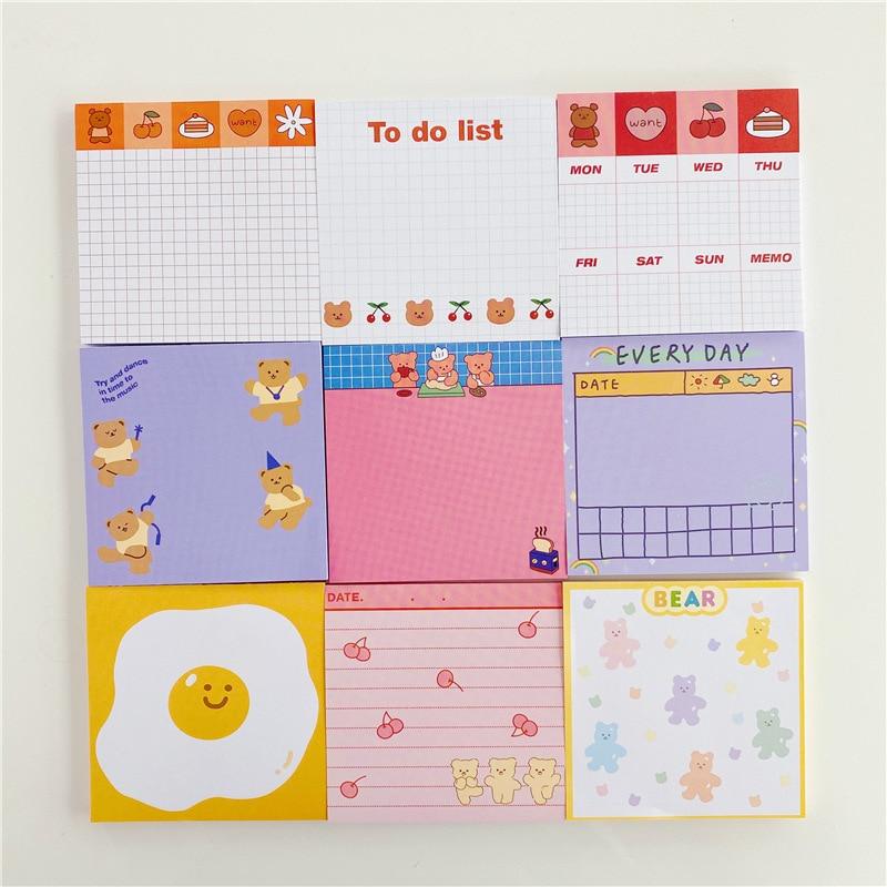 Słodki miś kreskówka wzór karteczki Do notowania koreańska dziewczyna małe notebooki siatka kolor notatnik notatnik Diy Do zrobienia lista Kawaii biurowe