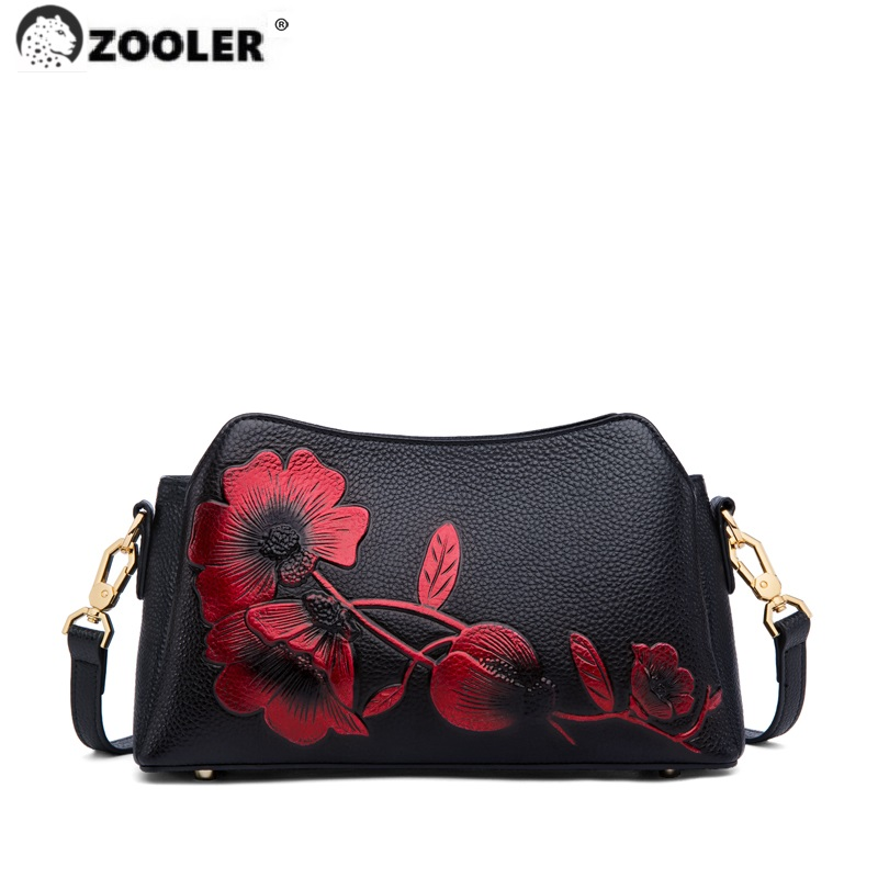 ZOOLER High Quality First Cow Shoulder bags Light  Women Fashionable Floral Pattern Crossbody Bag Real Cow leather Purse WG321