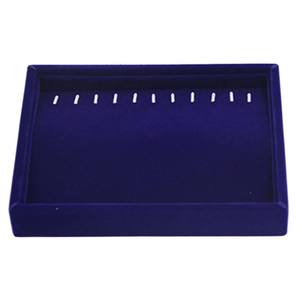 Jewelry Shop Dark Blue Velvet Jewelry Display Tray Box for Exhibit Bracelet Ring Trinkets
