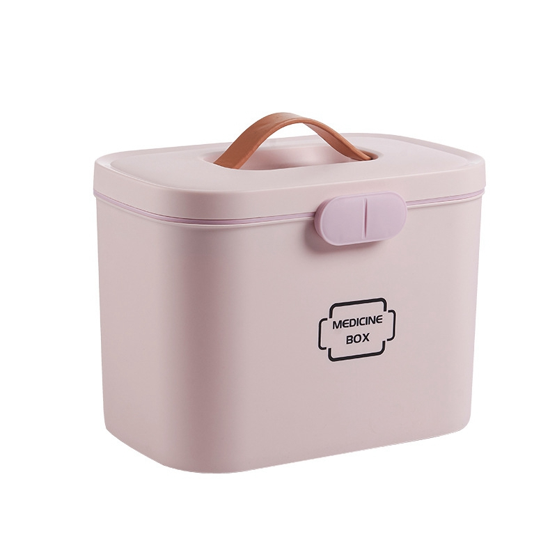 Two-Layer Large Capacity Plastic First Aid Box Medical Box Large Storage Box Medicine Box Emergency Container Household Medical