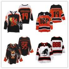 2020 Мужская футболка для хоккея на заказ с изображением клоуна на заказ, 95 черных 19 оранжевых хоккейных Джерси, Хоккейная Футболка с любым но...