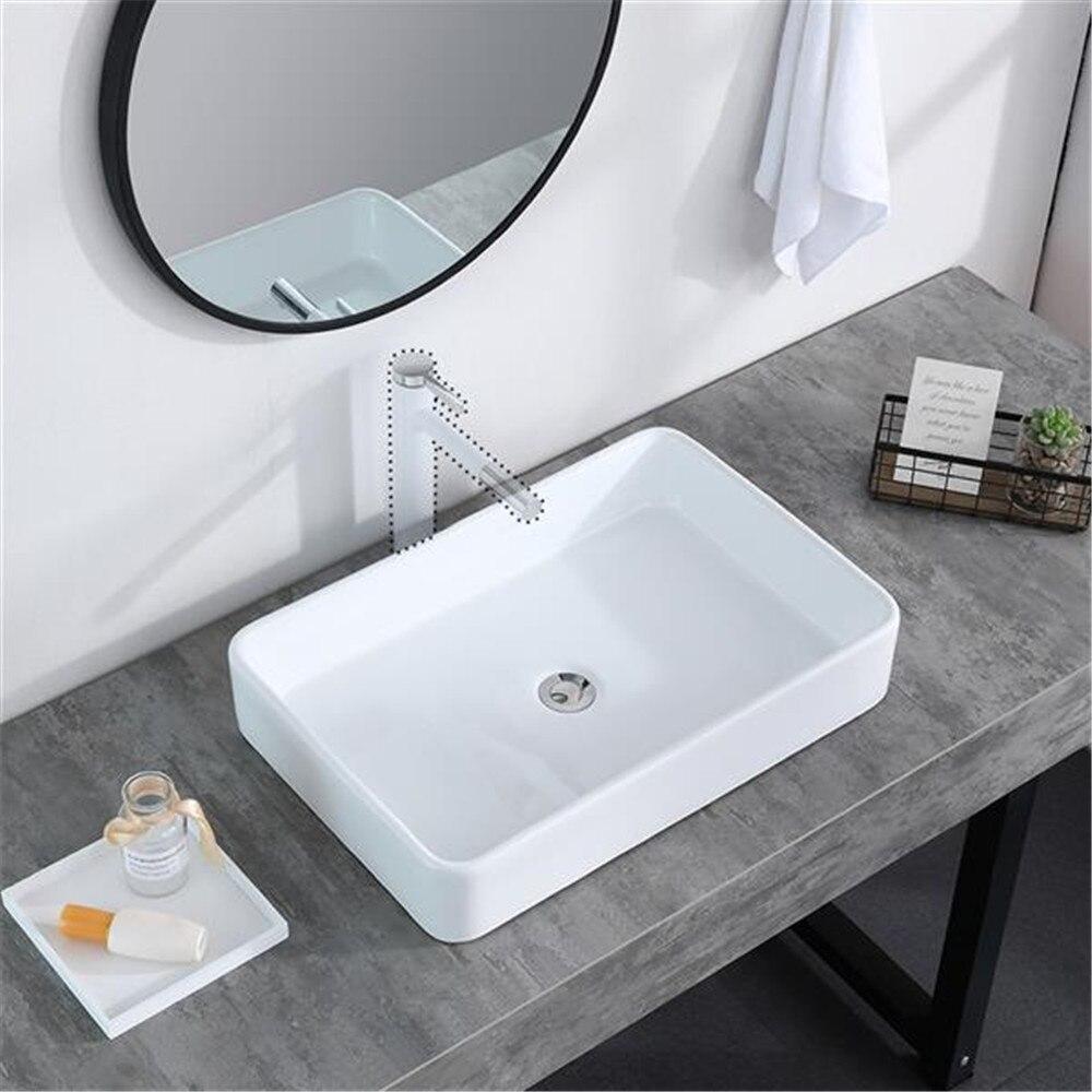 Salle de bain au-dessus du comptoir rectangulaire en céramique navire vanité évier Art bassin-porcelaine blanche-avec bouchon pour canalisation Pop Up
