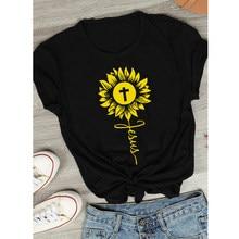Girassol jesus cruz camiseta engraçado feminino fé gráfico camiseta superior unisex inspirando religioso cristão tshirt transporte da gota