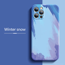 Ultra-fino aquarela silicone líquido capa de proteção para iphone 12 11 pro max xr x 8 7 plus mini caso de telefone novo