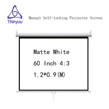 Thinyou Self-locking Projector screen 60 inch 4:3 Matte White Manual Pull Down for HD projector Movie Screen