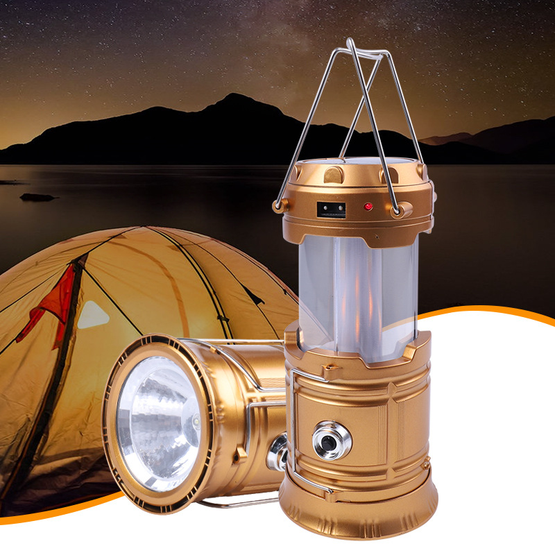 Outdoor Retractable Camping Flame Light LED Hand Tensile Flashlight Camping Emergency Light
