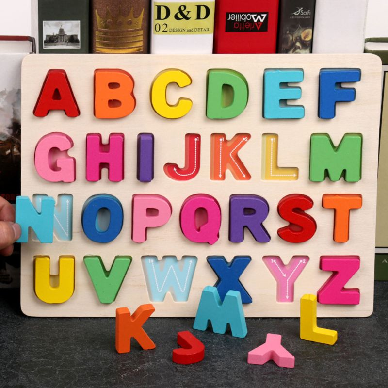 Wooden Puzzle With Colorful Letters/Numbers Childhood Early Educational Toys