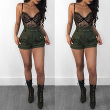Short Trousers High-Waist Loose-Belt A-Line Summer Casual Ladies Stylish Green Army
