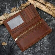 حقيقي محفظة جلدية طويلة vintage مجنون الحصان جلد الرجال النساء Bifold محفظة سستة عملة محفظة جيب حامل بطاقة محفظة الذكور