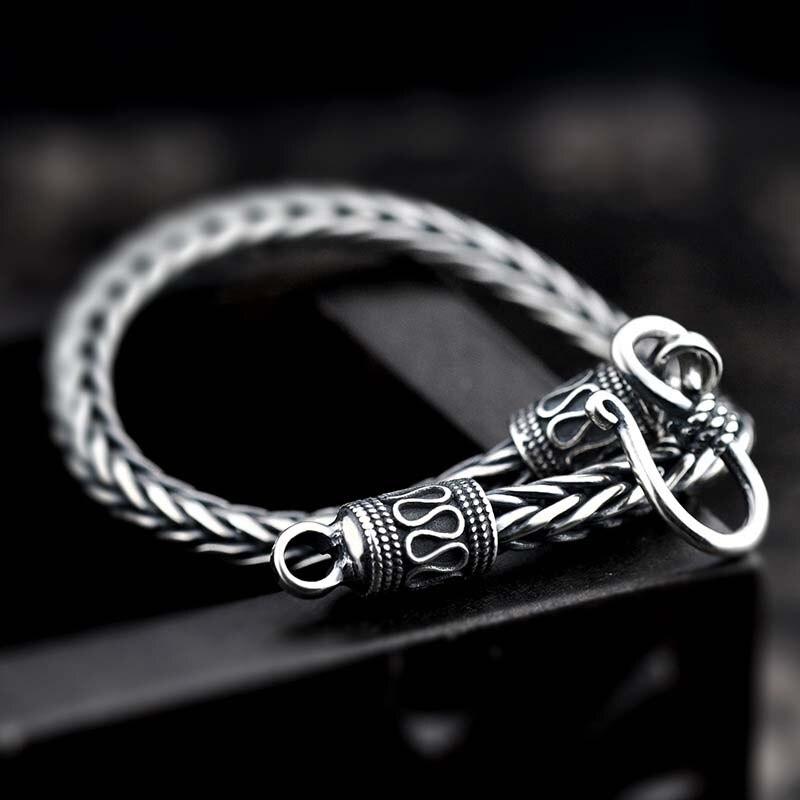 925 Sterling argent corde quille chaîne lien femmes hommes bracelet poisson échelles bijoux solide argent ton Vintage Foxtail boîte Bracelets