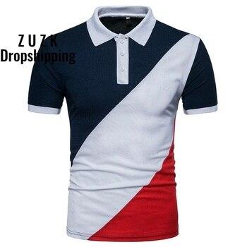 ZUZK Dropshipping Summer Men Tee Shirt 3 Colors Stitching  Style Polo Short Sleeve Shirt,US SIZE