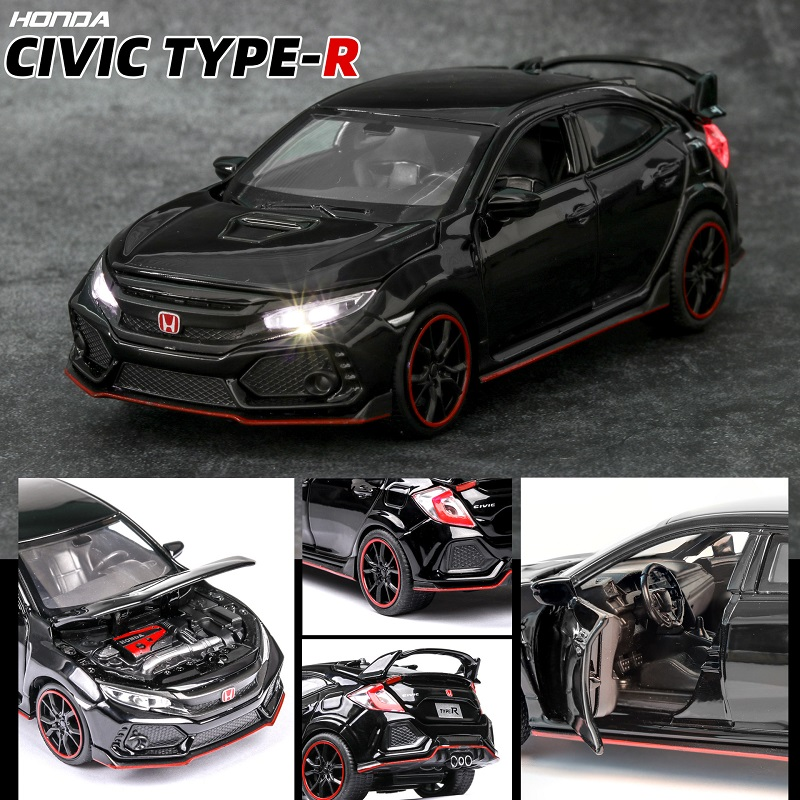 1:32 HONDA CIVIC TYPE-R Diecasts & Toy Vehicles Car Model With Sound Light Collection Car Toys For Boy Children Gift