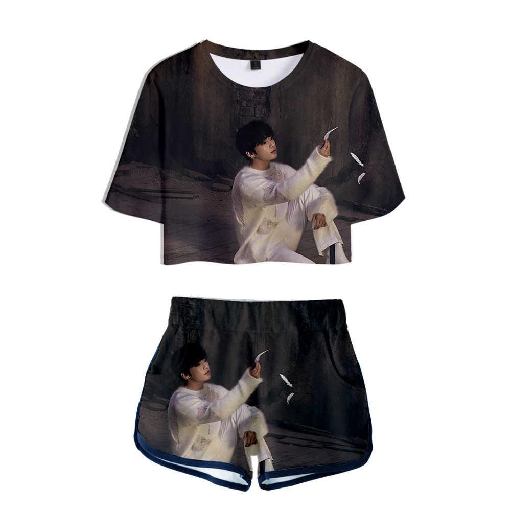 Nieuwe Koreaanse Fashion Kpop 3D Sets Kaart Van De Ziel K-Pop Kleding 2 Stuk Sets Vrouwen Outfits Shorts en Crop Tops Hip Hop Streetwear