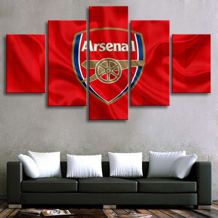 HD 5 Pieces Premier League Arsenal Football Posters Canvas Paintings Sports Soccer Prints Wall Art Posters Boys Room Home Decor